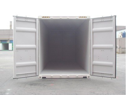 white painted high cube shipping container with door both ends