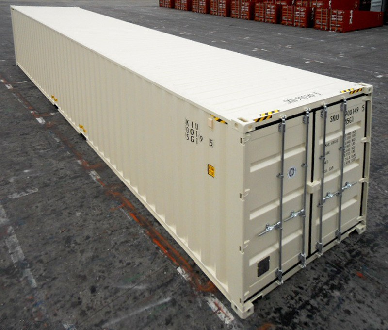 white painted high cube shipping container door at either end