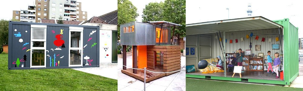 Shipping container kids play space