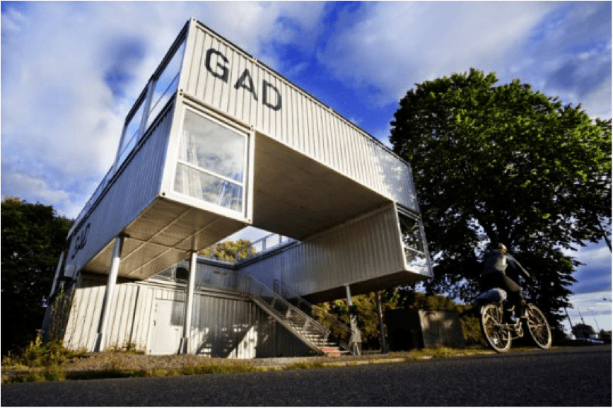 Premier Box shipping containers as art and buildings