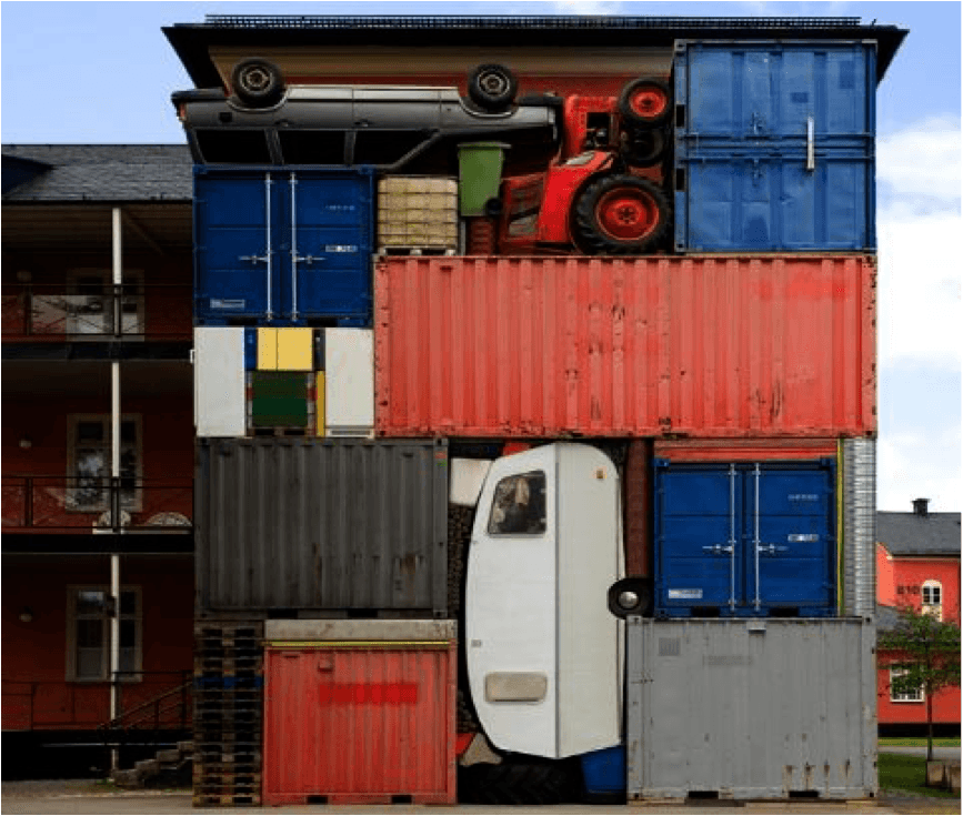 shipping container art with cars and caravans