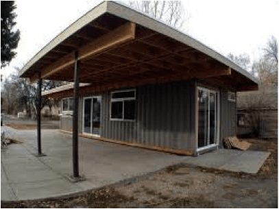 shipping container holiday home with carport